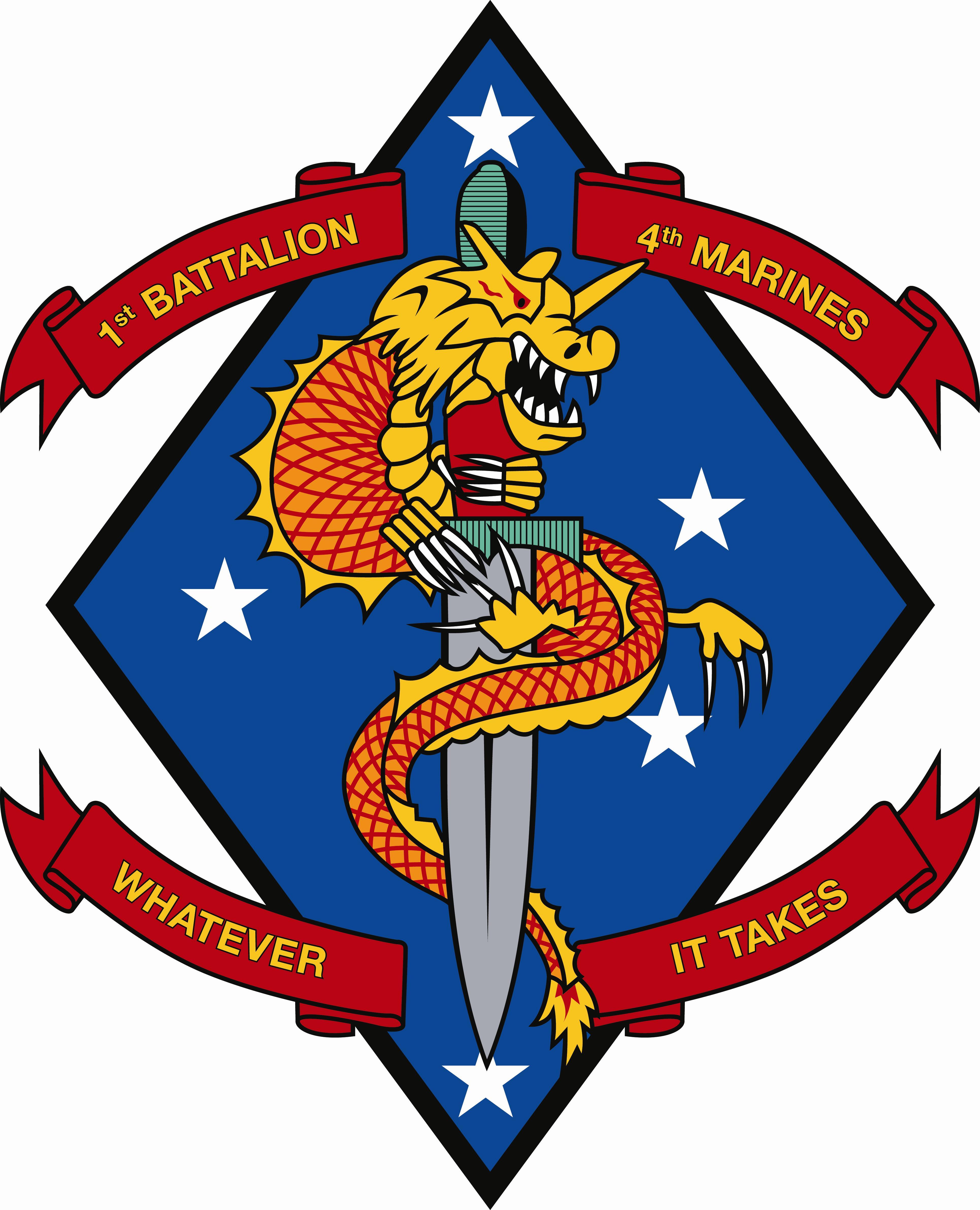 USMC 1st Battalion/4th Marines current logo round PATCH 1 ...  |1st Battalion 4th Marines Logo